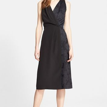 Women's Nordstrom Signature and Caroline Issa Jacquard Contrast Silk Dress