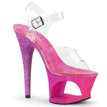 "Moon 708OMBRE  Pink Glitter Blend Cutout Clear Platform 7"" High Heel Shoe"