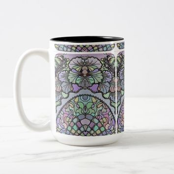 Old world purple pansy tile print mug