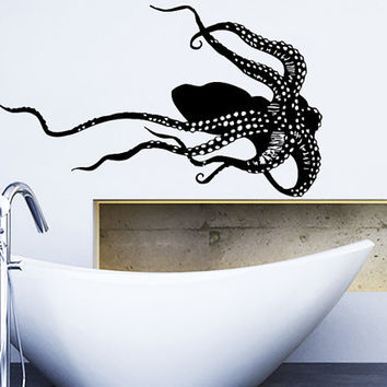 Wall Decal Vinyl Sticker Decals Art Home Decor Design Murals Octopus Tentacles Poulpe Delfish Fish Deep Sea Ocean Bedroom Bathroom AN653