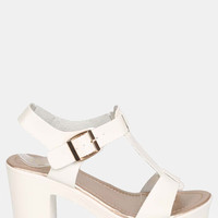 Open Toe T-Strap Low Block Heel Sandals