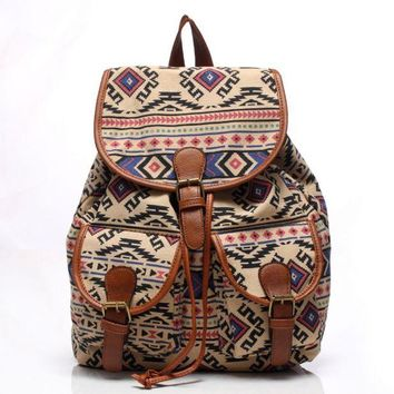Day-First™ Cute Geometry Travelling Bag School Bag Canvas College Backpack Daypack