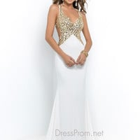 Blush Floor Length Jersey Prom Dress 9956