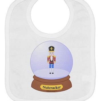 Nutcracker Snow Globe - Red Gold Black Baby Bib by TooLoud
