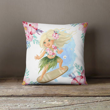 Surfer Girl - Floral Throw Pillow