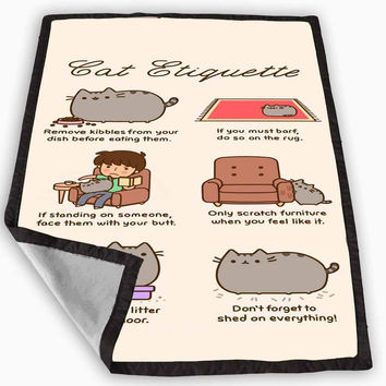 Pusheen cat cat etiquette Blanket for Kids Blanket, Fleece Blanket Cute and Awesome Blanket for your bedding, Blanket fleece *