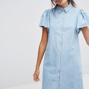 Bershka Button Front Denim Dress at asos.com