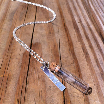 Wishes in a bottle Dandelion Seeds necklace with hand stamped wish charm and silver played necklace
