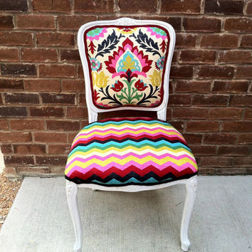 French Louis XVI Accent Chair Ikat Chevron Eclectic Upholstered Side Chairs  XV Colorful Bohemian Boho Chic