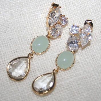 Seafoam Mint Rhinestone Teardrop Statement Gold Earrings, Pale Seafoam Mint dazzling Wedding Cubic Zirconia Rhinestone Luxury Earrings