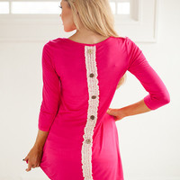 Pink Long Sleeve Bodycon Midi Dress with Back Button