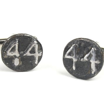 Railroad Date Nail Head Cuff Links Silver Plated