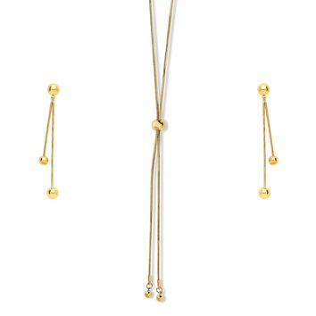 Gold-Tone Ball Bead Bar Triangle Choker Necklace and Earrings SetBe the first to write a reviewSKU# vs513-02