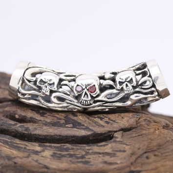 Handcrafted Skull GOOD LUCK Pendant vintage sterling silver Skeleton