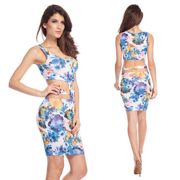Floral Print Sleeveless Cut Out Mini Dress