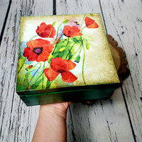 READY TO SHIP Wooden Green Red Poppy flowers decoupage Keepsake trinket jewelry Box gift for her home decor compartments antiqued