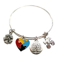 Autism Awareness Bracelet with Heart Puzzle Piece In Gift Box