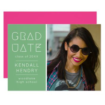 Modern Pink and Green Glyph Graduation Announcment Card