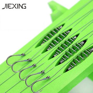 5 Pairs Double Hook Fishing PE Line Rigs Swivel carp hooks Cage Feeder String Hook Bait Feeder Fishing Accessories