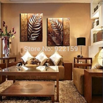 Handmade 2-Piece Golden leaf modern contemporary abstract oil painting