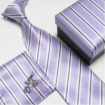 Purple Stripped Necktie Set with Matching Cufflinks, Pocketsquare and Gift Box
