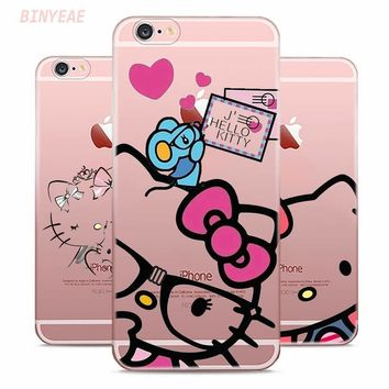 BINYEAE Hello Kitty Style Clear Soft TPU Phone Cases for Apple iPhone X 8 7 6 6s Plus 5 5S SE 5C