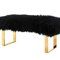 Sherpa Black Sheepskin Bench