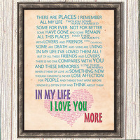30&% OFF!-In my life Song Lyrics the Beatles Wall Art Quote Art Print Room Décor instant download gift