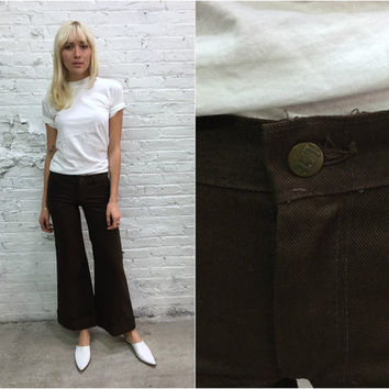 vintage 70s Lee bellbottoms / 1970s brown denim bell bottoms / flared jeans