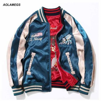 Aolamegs Japan Yokosuka Embroidery Jacket Men Women Fashion Vintage Baseball Uniform Both Sides Wear Kanye West Bomber Jackets
