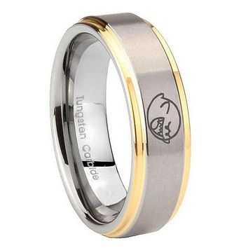 10MM Step Edges Mario Boo Ghost 14K Gold IP Tungsten Two Tone Men's Ring