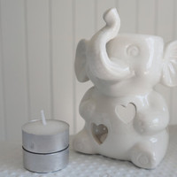 SALE Cute Elephant Candle Holder get 2 FREE CANDLES, Aromatherapy,diffuser for Essential Oil, oil Burner,Handmade Ceramic candle warmer,spa