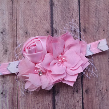 Baby Headband - Newborn Headband - Pink & White Headband - Vintage Headband - Hair Bow - Pink Chevron - Infant Newborn Photo Prop