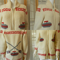 1950s Cowichan Curling Hand Knit Sweater, Vintage Novelty Mary Maxim  Unisex Wool Cardigan, Size M/L