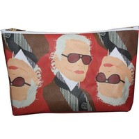 Karl Lagerfeld Pop Zipper Pouch and Makeup Bag – Illustrated and Handmade in the USA