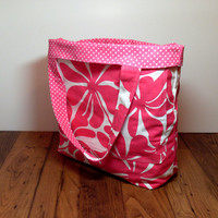 Big Beach Bag - Reversible Beach Bag - Pink White - Floral Polka Dots - Summer Beach Bag - Big Tote Bag - Made To Order