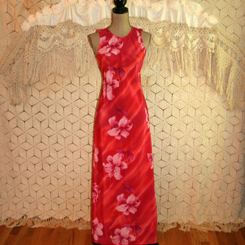Red + Pink Tropical Floral Dress Maxi Dress Beach Summer Sleeveless Long Dress Hawaiian Luau Size 2 Dress Size 4 Small XS Womens Clothing