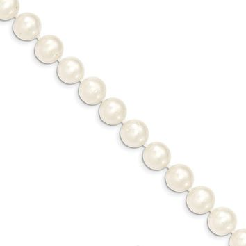 9-10mm, White FW Cultured Pearl & 14k Yellow Gold Clasp Necklace