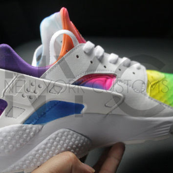 Tie Dye Nike Huarache Run Triple White Custom