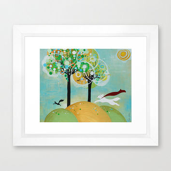 Spring Squirrel Patrol Framed Signed Earth Day Dogs Pets Sun Trees Grass Nature Hope Yellow White Red Blue Green Black Animals