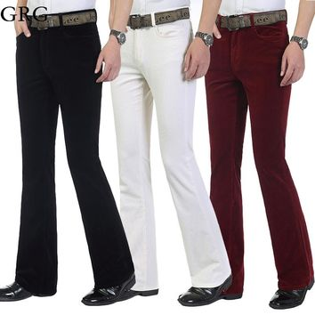 Free Shipping Autumn Men's commercial casual pants corduroy Flares trousers male elastic bell-bottom trousers