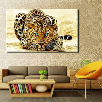 Modern Paintings HD Digital Printed on Canvas, Wall Art Large Leopard Poster for Living Room Home Decor No Frame