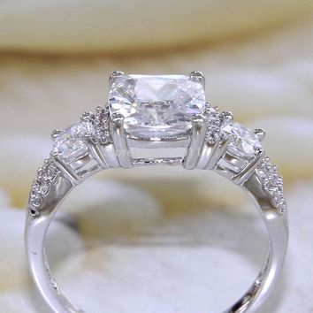 2.5 Ct Princess Cut AAA CZ Rhodium Plated Wedding Ring For Women Engagement Band Trendy Jewelry Gift From US
