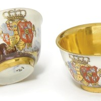 A PAIR OF MEISSEN ROYAL ARMORIAL TEABOWLS FROM THE MARIA AMALIA QUEEN OF SICILY SERVICE, CIRCA 1737-40, BLUE CROSSED SWORDS MARKS, <I>DREHER</I>'S MARKS TO ONE AND STAR TO OTHER