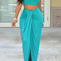 Sleeveless Crop Top with Pleated Skirt Two-Piece Set