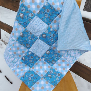 Handmade Flannel Elephants, Chevrons, Dots and Stars Patchwork Crib Quilt with Minky Fleece Backer - Modern Baby Quilt  - Blue, Gray