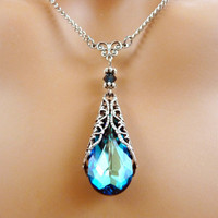 Blue Crystal Necklace Swarovski Victorian
