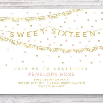 Sweet Sixteen Party Invitation // DIY Teen Party Invites // Sweet 16 Party Templates //  Printatble Birthday Invites