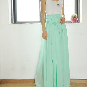 High Waist Maxi Skirt Chiffon Silk Skirts Beautiful Bow Tie Elastic Waist Summer Skirt Floor Length Long Skirt (037)
