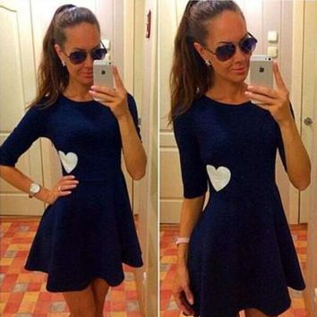 New Women Navy Blue Plain Heart Print Round Neck Short Sleeve Cute Mini Dress